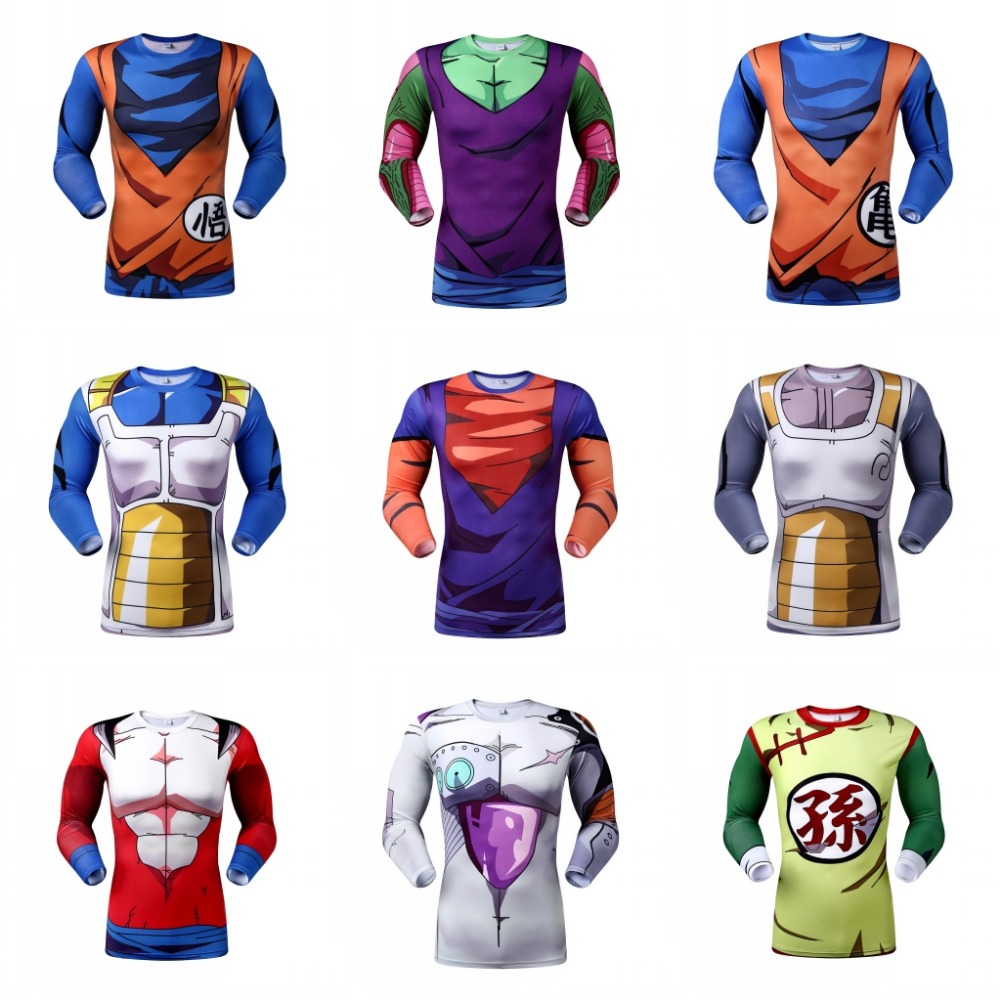 2016 Dragon Ball Z Vegeta long sleeve T Shirts Anime Super Saiyan Goku/Majin Buu/Piccolo/Cell DBZ T shirt 3D sport Tees(China (Mainland))
