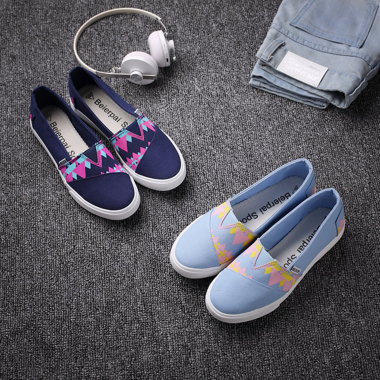 Female JK style summer preppy chic canvas shoes sneakers pedal shoes lazy casual Harajuku lolita punk