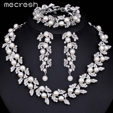 Mecresh Simulated Pearl Bridal Jewelry Sets Silver / Gold-Color Necklace Set Wedding Jewelry Parure Bijoux Femme TL283+SL089(China (Mainland))