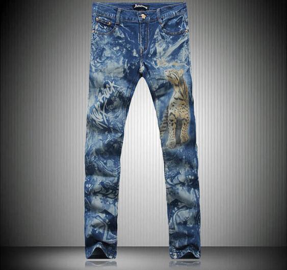 2016 Men's jeans print jeans leisure tiger pattern printing letters color blue denim pants flower trade tide men jeans LP50(China (Mainland))