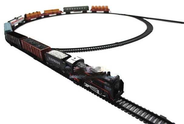2014 Brinquedos Meninos To Create Your Own Railway World! Eight Container Train Lengthen Track Electric Toy scale Classic Train(China (Mainland))