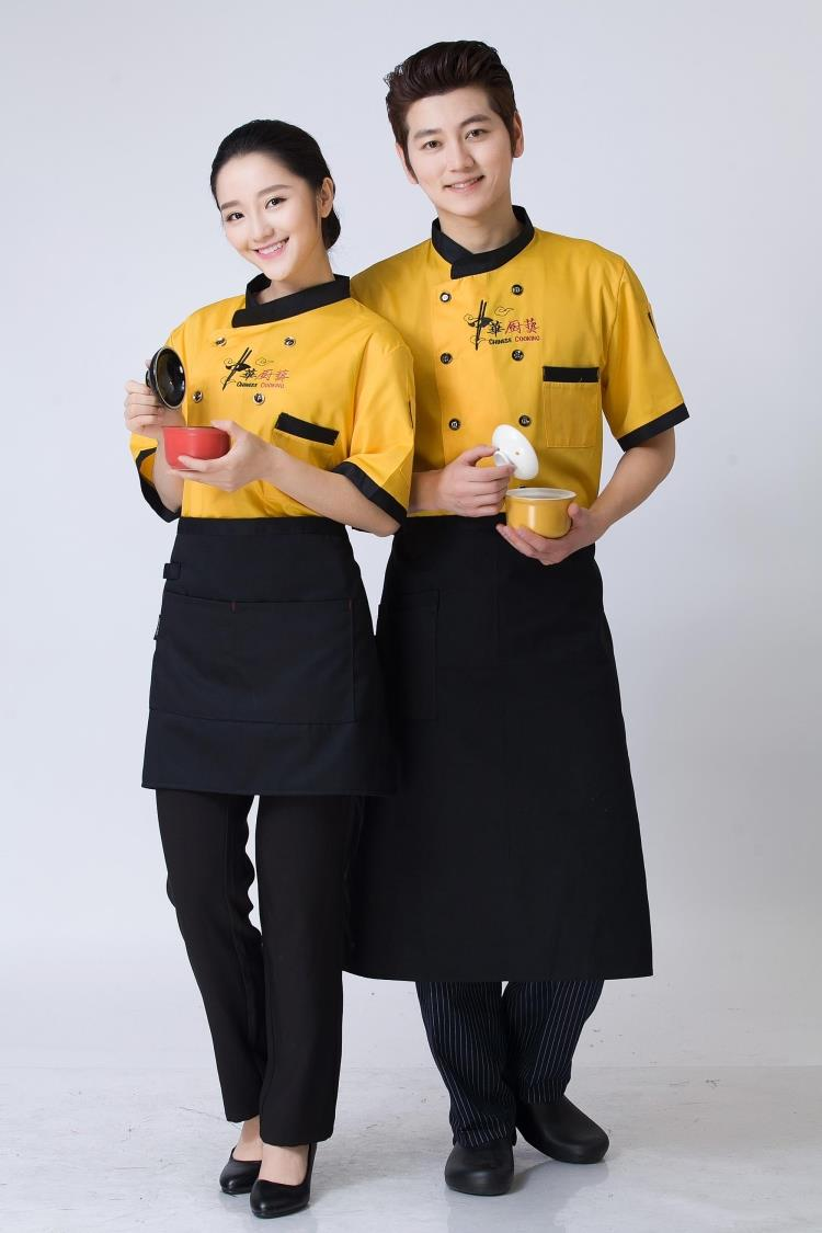 Chef service hotel chef coverall Chef Uniform summer restaurant kitchen chef wear short sleeved bag mail(China (Mainland))