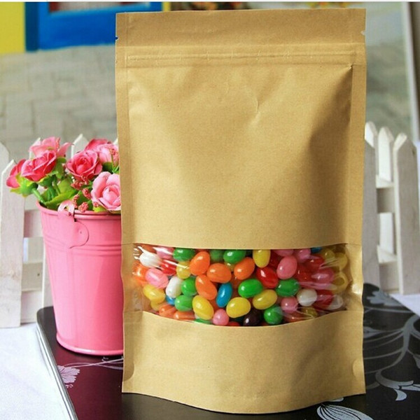 10Pcs/bag Empty Kraft for Windows Reliance Ziplock 9 * 13 + 3CM Nuts Packaging Bags Home Food Storage Bag For Party(China (Mainland))