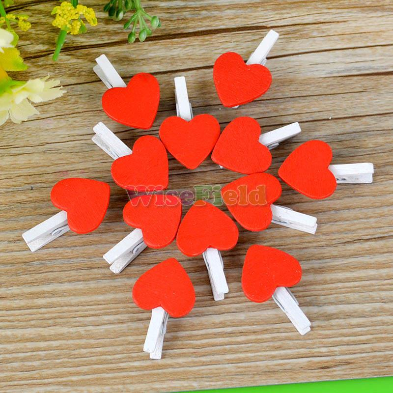 20 Pcs Wooden Red Heart Clips Pegs Decor 2016 Hot Sale(China (Mainland))