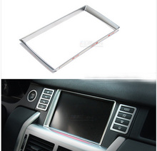 ABS Chrome Car Accessories For Land Rover Discovery Sport 2015 Dashboard GPS Multimedia Display Screen Cover Trim Frame Sticker
