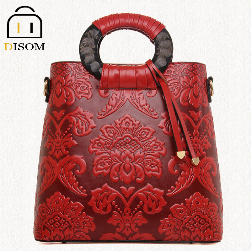 DISOM new arrival 2016 Chinese style 3d embossing floral women bags famous brand high grade pu leather ladys bucket handbags<br><br>Aliexpress