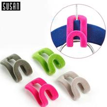 10 PCS Random Color!! Home Creative Mini Flocking Clothes Hanger Easy Hook Closet Organizer(China (Mainland))