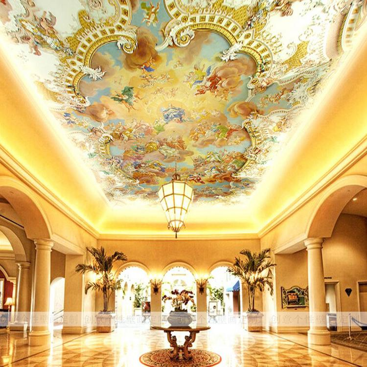 Popular ceiling murals wallpaper buy cheap ceiling murals for Ceiling mural in a smoker s lounge