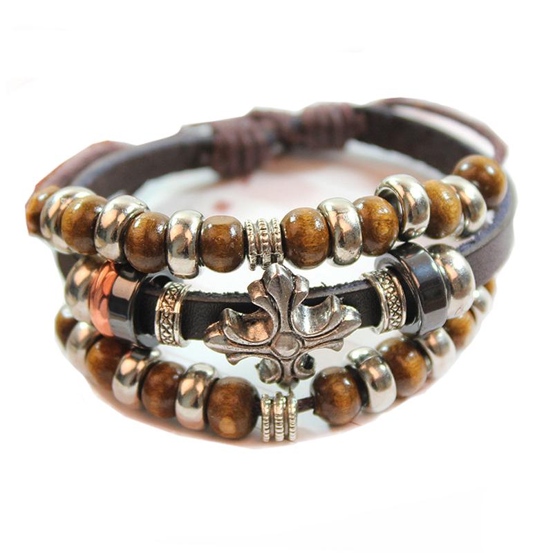 bohemia beaded charm bracelet leather bracelet