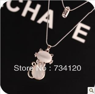 N095 2016 HOT free shipping fashion fashion exquisite rhinestone hello kitty cat necklace Wholesale(China (Mainland))