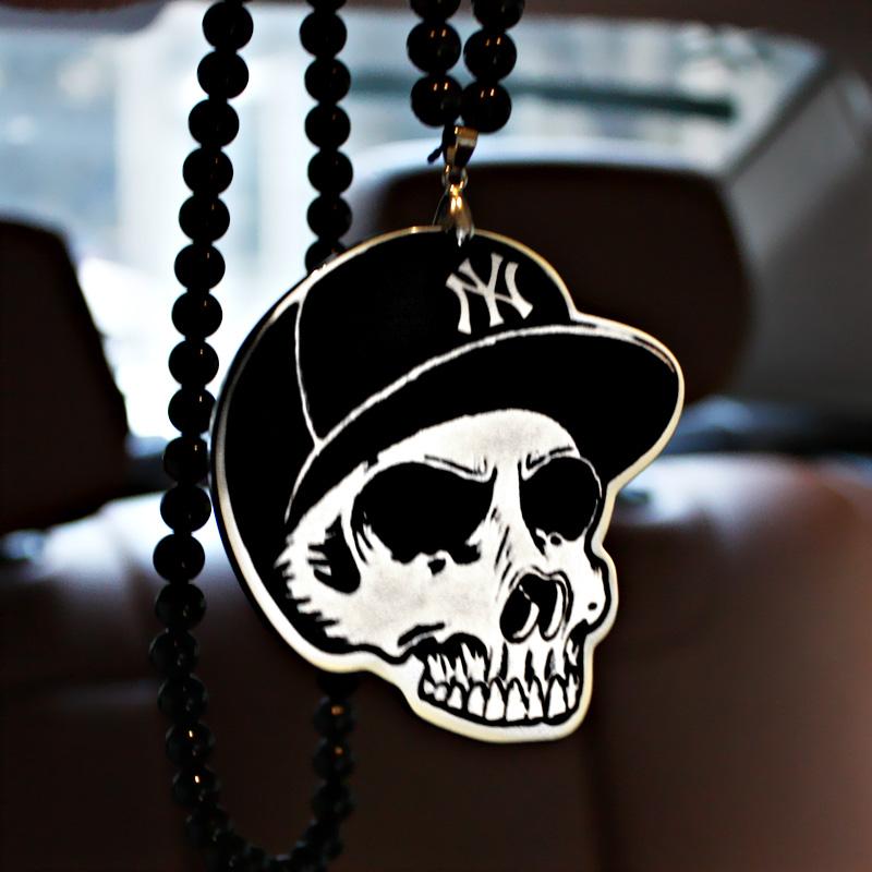 New York Yankees NY Cap Skull Badge Hip Hop Pendant Car Styling JDM Interior Rearview Mirror Ornament Beads Hellaflush Charm(China (Mainland))