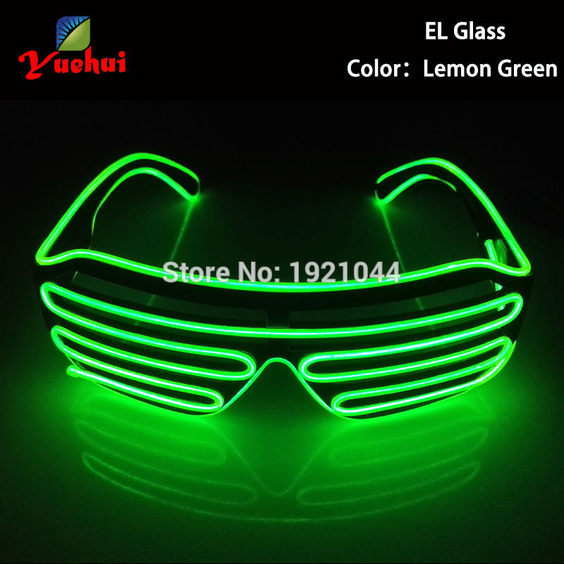 NEW Arrival Lemon Green EL Wire Neon LED Light Up Shutter Fashionable Glasses For Costume Dance DJ Festival Party Decoration(China (Mainland))