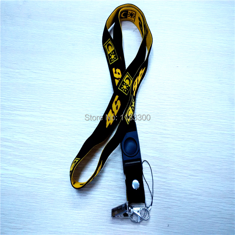 1Piece Rossi VR 46 Motorcycle Racing phone strap Black Motorsport phone lanyard phone key chain ring for ID holders # 028