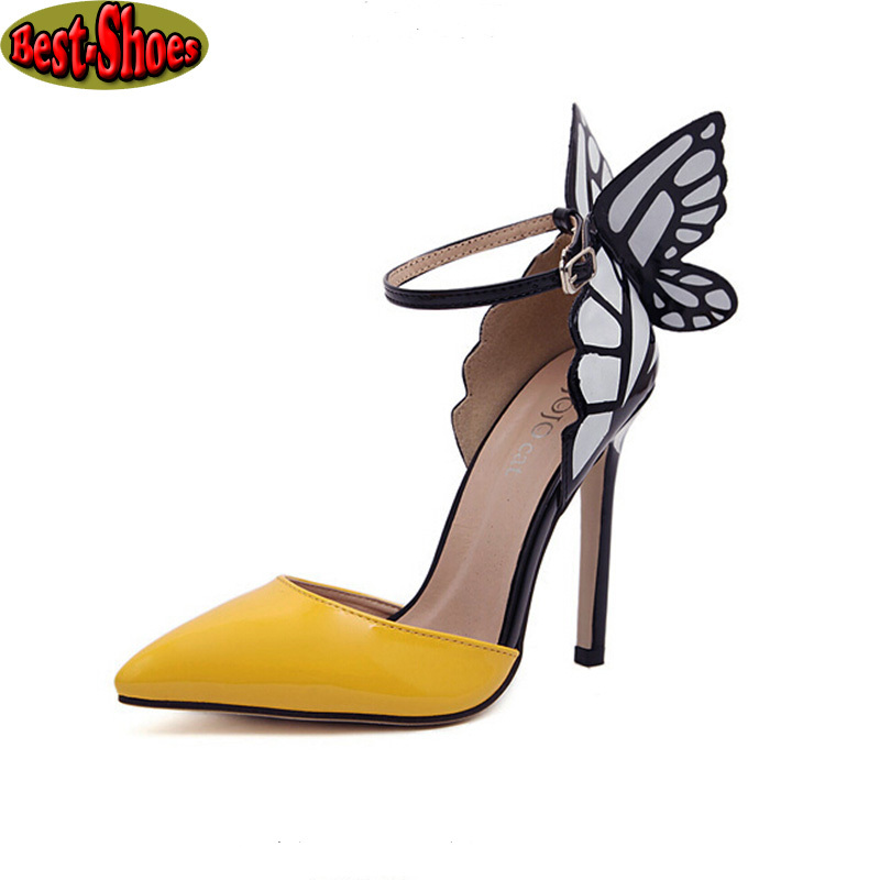 New 2014 Eur Women Personality Wedding High Heels Colorful Butterfly Heeled Sandals Pumps Bow Party Shoes Women Bridal Pumps(China (Mainland))