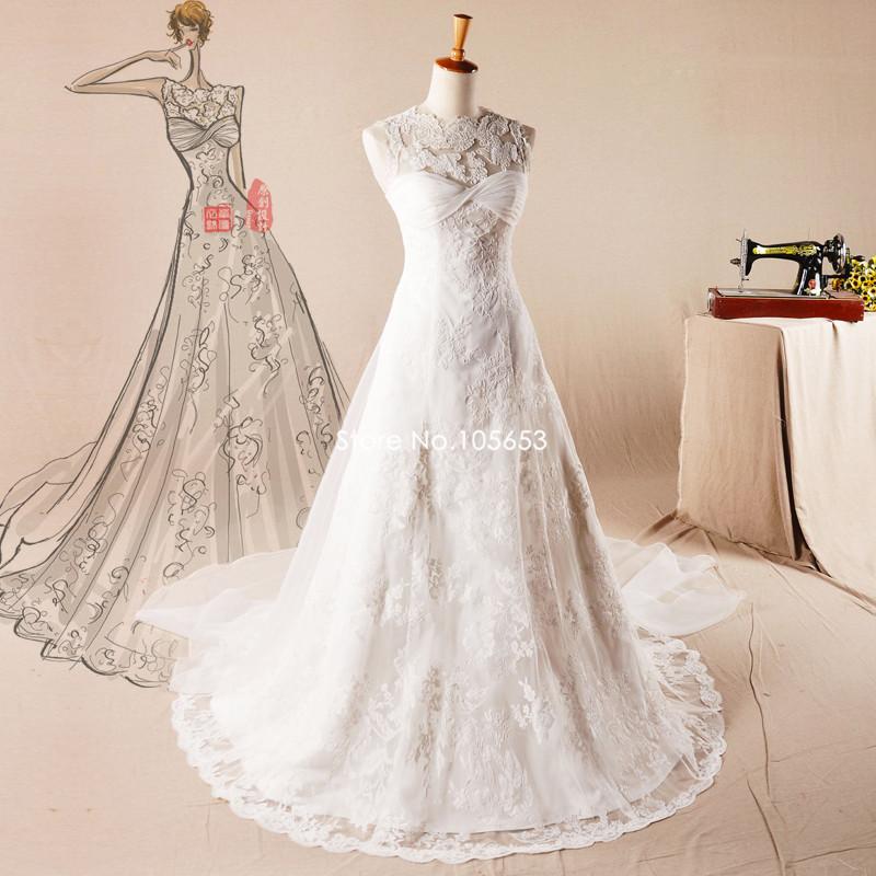 Simple Wedding Dress High Neck : Hot sale simple sleeveless high neck princess wedding