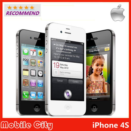 Refurbished Unlocked Apple Original iPhone 4S cell phone 16&32&64GB ROM iOS GPS WiFi WCDMA 8MP GPRS With Gifts by Free Shipping(China (Mainland))
