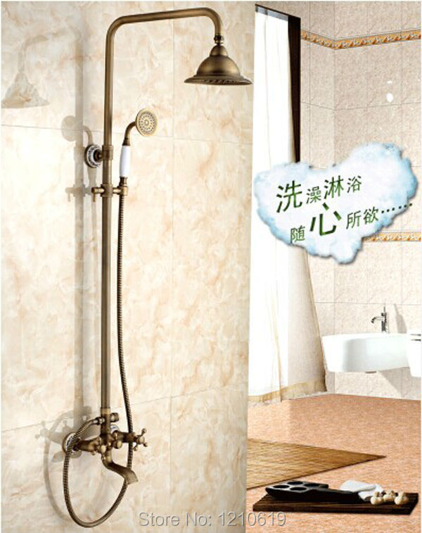 Newly US Free Shipping Wholesale And Retail Antique Brass Shower Faucet Set With 8 Inch Shower Head Ceramic Hand Shower Spray