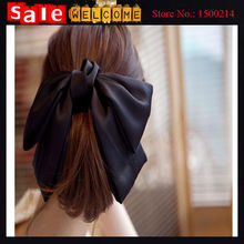 2016 Korean Fashion Women Girls 's Cute Large Big Satin Hair Bow Ribbon Bows Hair Band Clip Barrette Ribbon Bow Headwear Jewelry