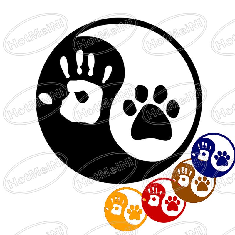 Ying and YANG DOG or CAT Paw & Hand Print Car Window Vinyl Decal Sticker LOGO Laptop Locker(China (Mainland))