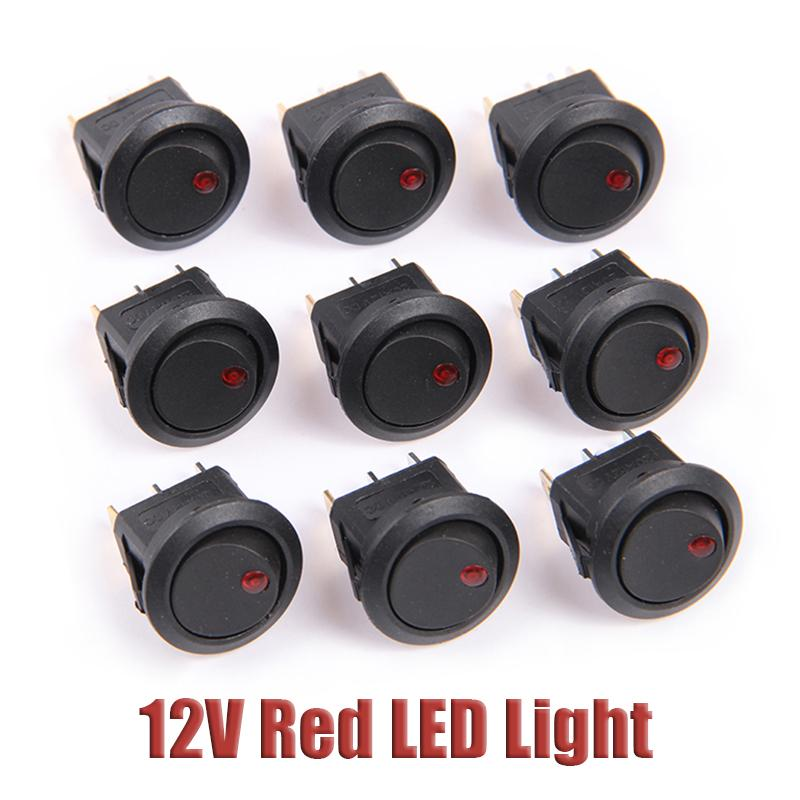 Free Shipping! 1PCS Red LED Dot Light Round Rocker ON/OFF Toggle SPST Switch 12V For Car Boat Home Free Shipping(China (Mainland))