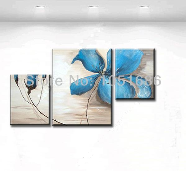 Orchid toile peint la main abstraite moderne bleu for Peinture cuisine bleu turquoise