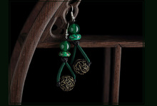 The first act the role ofing is tasted female original design Retro long green earrings National wind manually(China (Mainland))