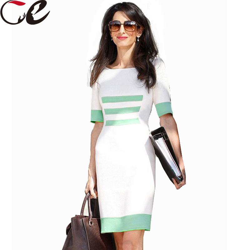 2015 Spring Summer Elegant Party White Dress Women Stitching Casual Sexy Slim Pencil Bodycon Dress Summer Style Workwear vestido
