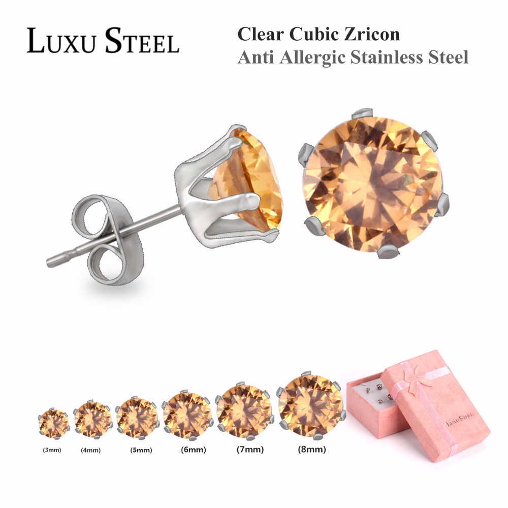 2016 Trendy Clear CZ Earrings Set, Anti Allergic Stainless Steel Stud Earrings Set For Women/Ladies/Girls, 6 Pairs Per Set(China (Mainland))
