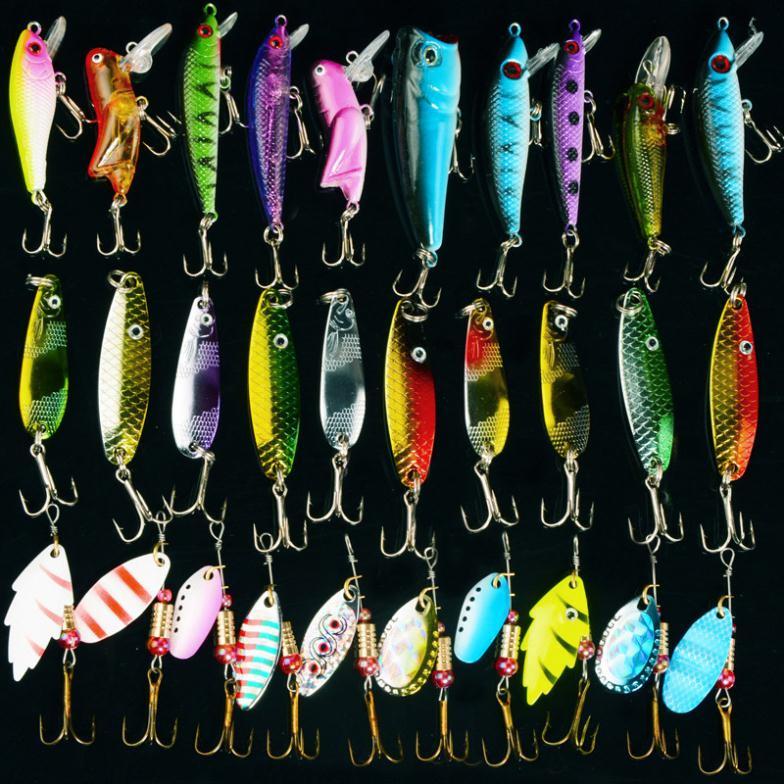 Fishing Lure Kits Hard ARTIFICIAL LURES MINNOW FISHING LURES Set Japan Steel Balls 30Pcs Blade Fish Bait Cheap Tackle NEW 2017(China (Mainland))