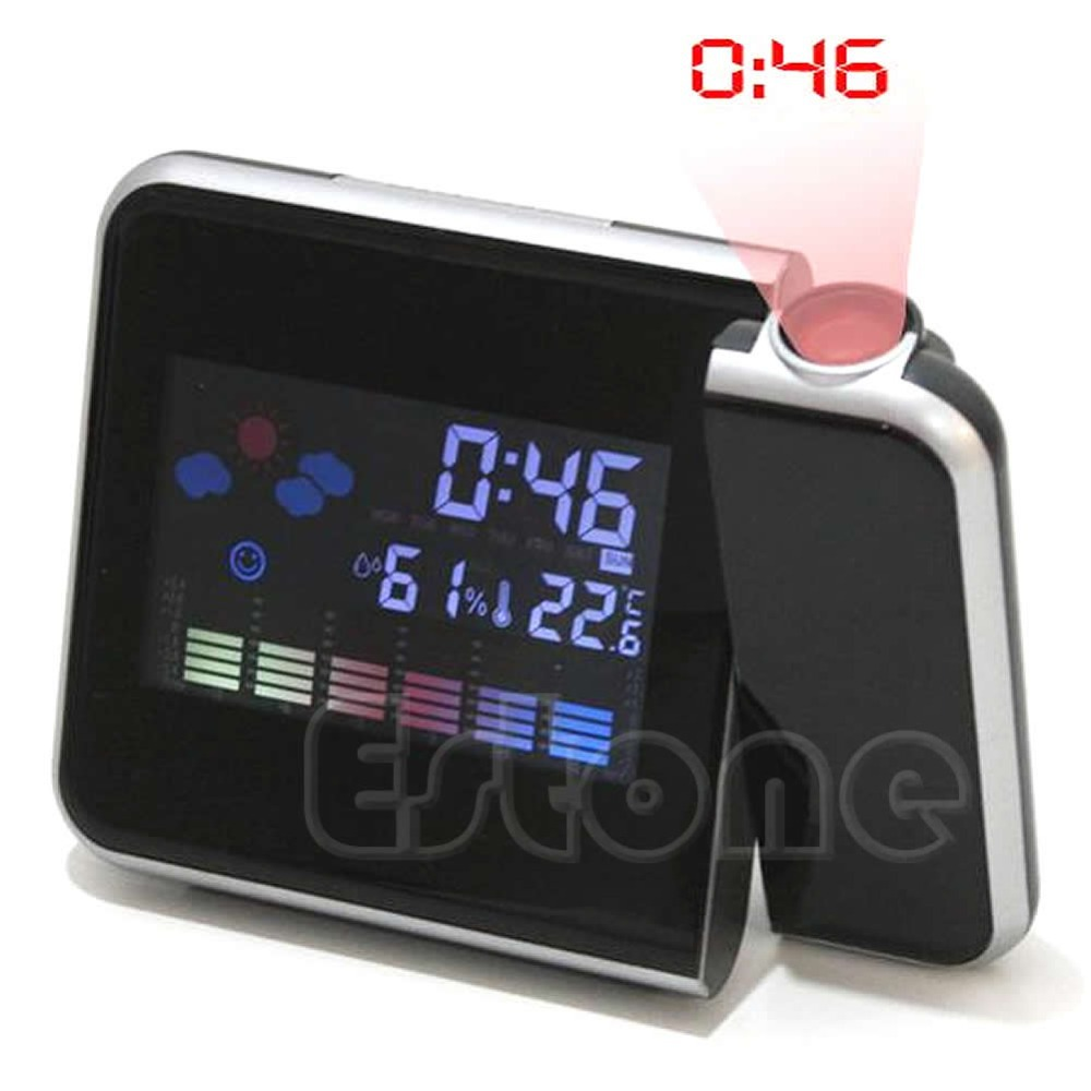 Free Shipping 1PC Digital LCD LED Projector Alarm Clock Projecting Weather Station Thermometer(China (Mainland))