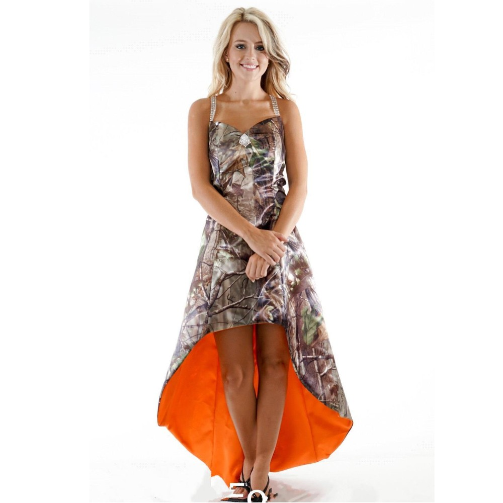 Compare prices on camo orange dress online shoppingbuy low price high low halter spaghetti strap sexy hollow back beaded a line orange camo bridesmaid dress cammouflage ombrellifo Gallery