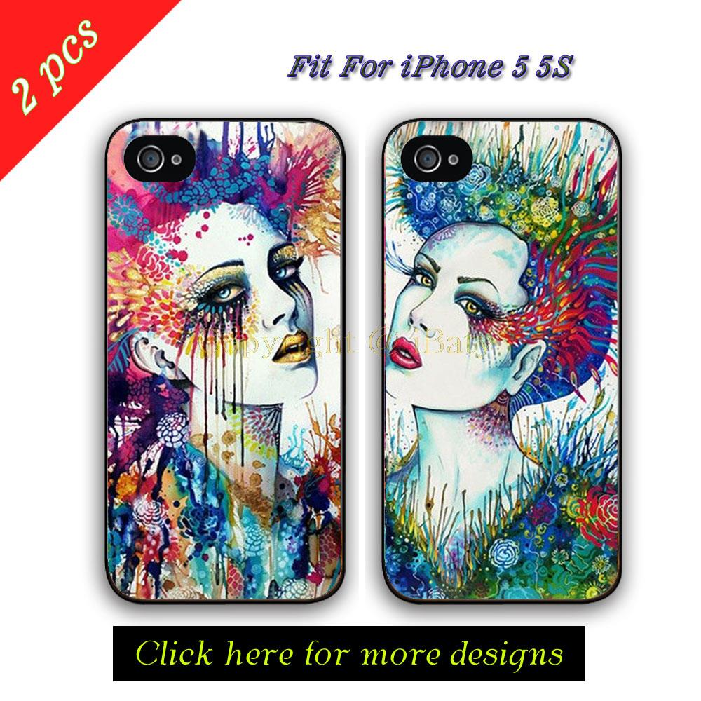 Rainbow Eye Best Friends BFF Case Apple iPhone 5 King Queen Couple Lover Hard Plastic Phone Cover Capinha 5S 5G  -  iBaty Cute Custom Gift Co., Ltd. store