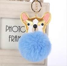 Pele Pom Pom Chaveiros cão Falso pele de Coelho bola pompom de fourrure fofo Saco Encantos clef chaveiro porte coelho keyring(China)