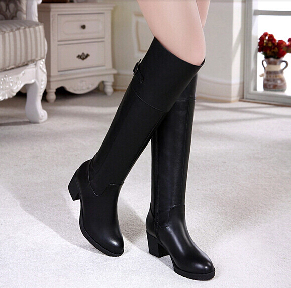 2014 winter genuine leather women boots high-leg snow thick over-the-knee long cowhide medium hells shoes 34-40 - Cheap and Fashion Store store