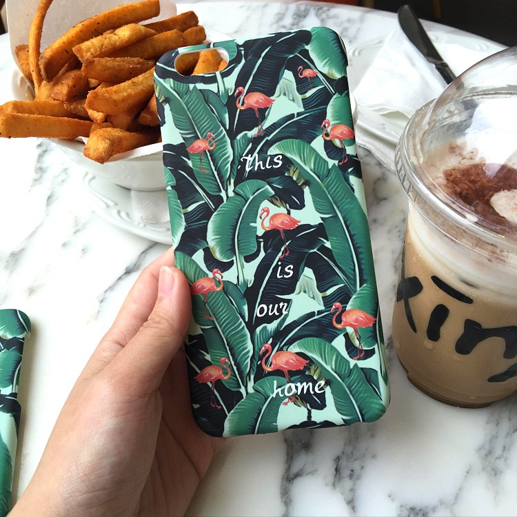 Tropical Banana Tree Leaves Protective Red-crowned Crane Phone Case For iPhone 6 6S 4.7 / Plus 5.5 inch High Quality Phone Cases