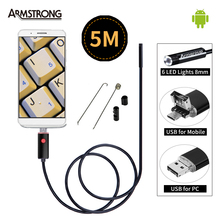 Buy Black 2In1 Endoscope 5M Cable USB Android Endoscope Camera 8mm OTG Mini USB Android Borescope Inspection USB Camera Android for $15.32 in AliExpress store