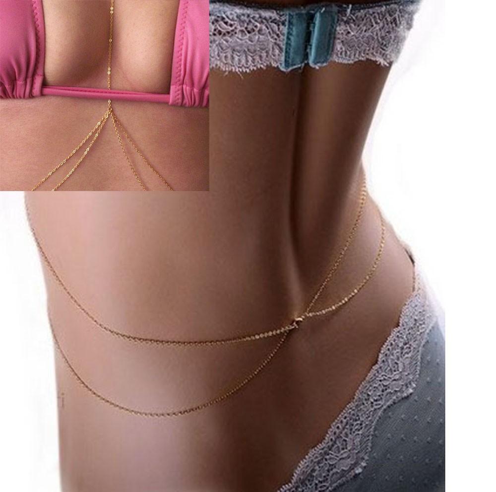 חוף שרשרת נשים ביקיני סקסי Crossover לרתום המותניים הבטן הגוף שרשרת זהב