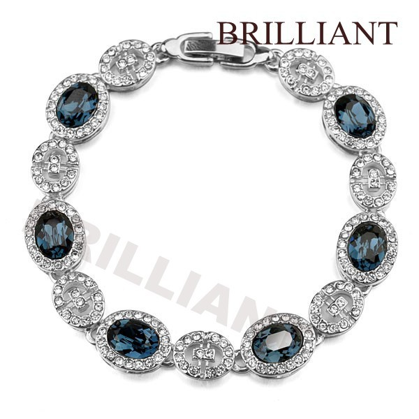 BB161 Elegant Blue Gem 18K Platinum Plated Bracelets Wedding Jewelry Women Austria Crystals - Brilliant store