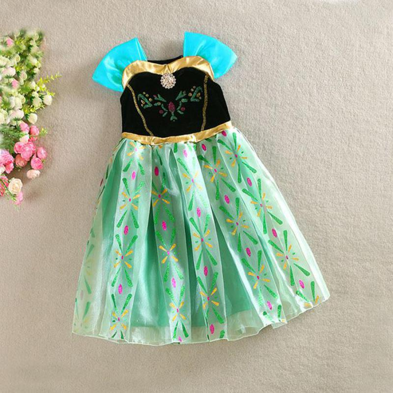 2016 Brand New Baby Girls Dresses Kids Clothes Children Dress For Girls Clothes Cartoon Anna Elsa Princess Dress Vetement Fille(China (Mainland))