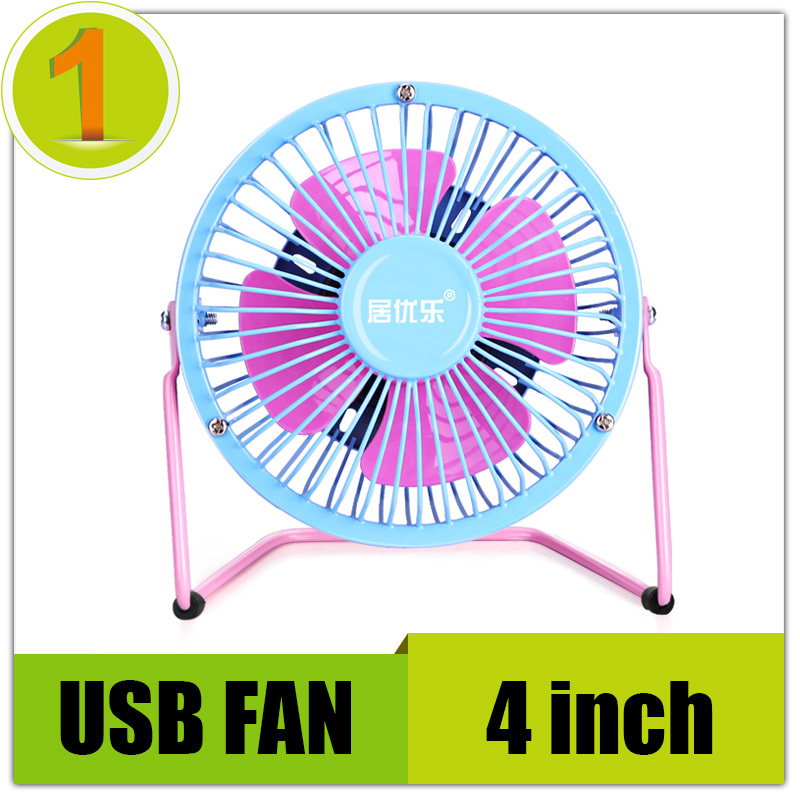 High quality Cooling Super Mute Metal mini usb fan for laptop notebook pc with key switch(4 colors) 4 inch Free Shipping(China (Mainland))