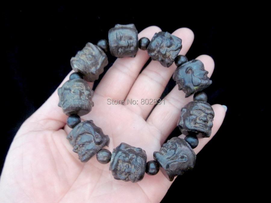 Beautiful Wood Two-sided Hand-Carved Art Buddha head Beads Bracelets(China (Mainland))