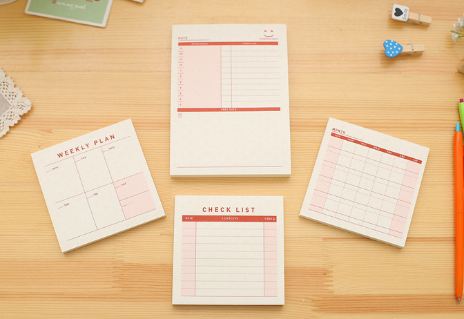 Desk moth weekly check list sticky notes planner pocket notebook Desktop schedule Program notes memo pad office school supply(China (Mainland))