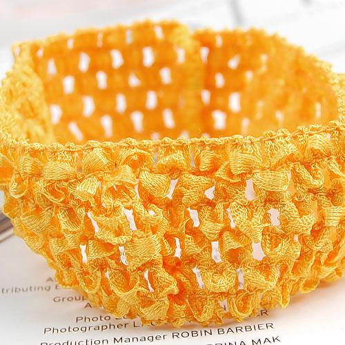 1.5'' Baby Girls Toddler Crochet Ribbon Golden Yellow Headband Hairband Stretchy(China (Mainland))