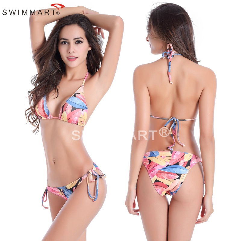 7 Sizes Removable Padding Fully lined Classic Pattern Strappy Sexy Bikini beach wear swimwear(China (Mainland))