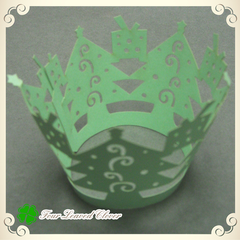 Free Shipping! 60 pcs/ lot Green Christmas tree Design Lace cupcake wrappers,Paper muffin cups,Cupcake plastic boxes Wholesale(China (Mainland))