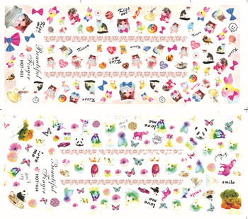 Large package different design nail stickers design animal  3D flower water transfer nail decals  Hot  nails art decoration