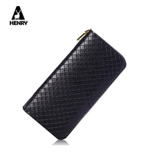 2016Fashion Best Quality Simple design Leather Women Zipper Purse Long 3d Tartan Top Grade Female Card Holder Soft Leather Purse