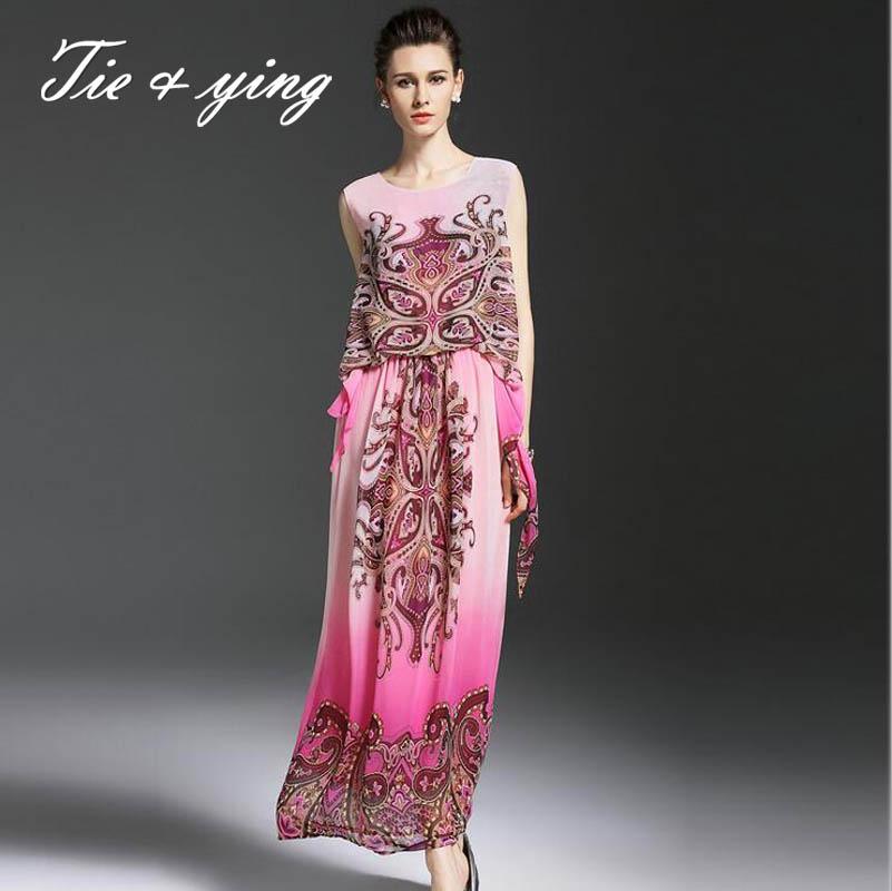 Bule/red classic luxurious elegant casual full dresses women 2016 summer new sleeveless slim ladies Ethnic party long dresses(China (Mainland))