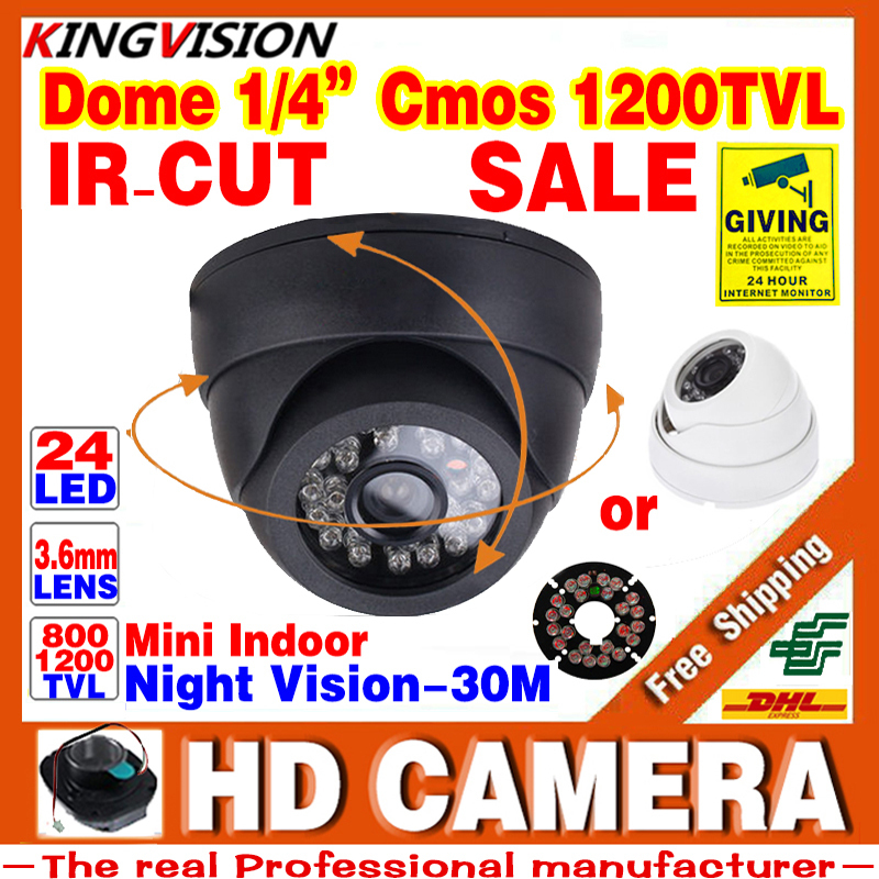 Losing Sale!Real HD 1/4cmos 800/1200TVL Indoor Dome Camera 24leds IR-cut Security Surveillance Infrared Night Vision Color Video(China (Mainland))