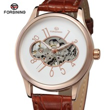 New automatic watch FSG8094M3R5 Watch men rose gold color case white dial with rose gold color arab numbers brown leather strap